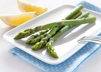 Photo of steamed asparagus on a plate